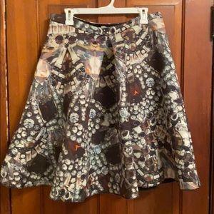 Jewel print midi skirt